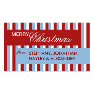Christmas Stripes blue Gift Tag Pack Of Standard Business Cards