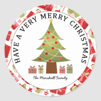 Christmas Tree and Gifts Holiday Round Sticker