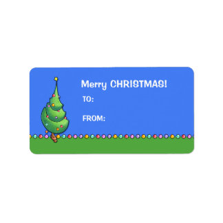 Christmas Tree blue2 Gift Tag Label Address Label