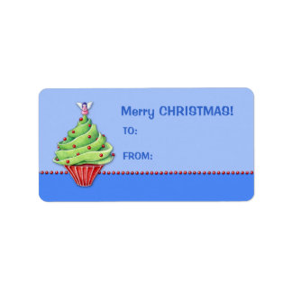 Christmas Tree Cupcake blue2 Gift Tag Label Address Label