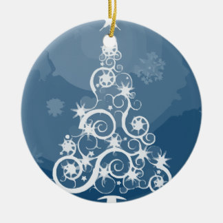 Christmas tree illustration round ceramic decoration