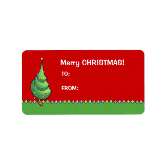 Christmas Tree red2 Gift Tag Label Address Label
