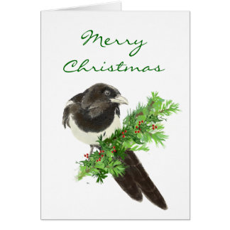 Christmas Watercolor Magpie Bird on Pine Branch Greeting Card