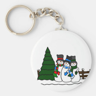 Christmas Winter Snowmen Friends Basic Round Button Key Ring