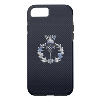 Chrome like on Carbon Fiber Print Scottish Thistle iPhone 7 Case