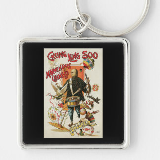 Chung Ling Soo ~ Vintage Chinese Magic Act Silver-Colored Square Key Ring
