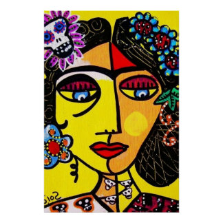 Citrine Sugar Skull Mexican Lady Poster
