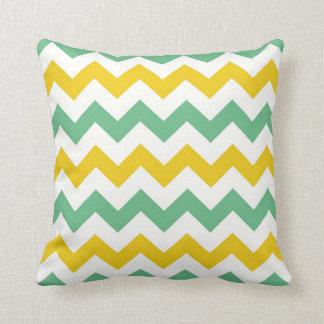 Citrus Lime Chevron Zigzags Yellow Green Pillow Cushion