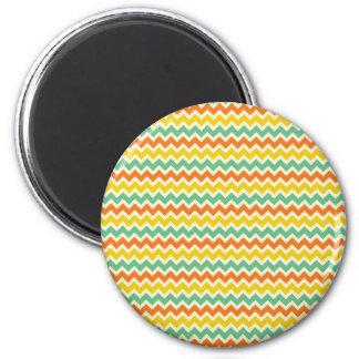 Citrus Lime Green Orange Yellow Chevron Zigzags 6 Cm Round Magnet