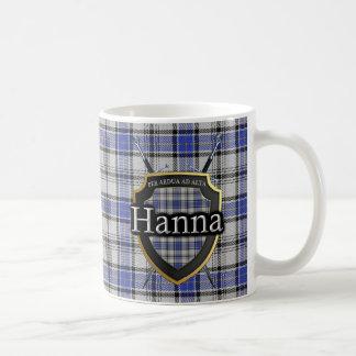Clan Hanna Hannay Tartan Shield Crossed Swords Basic White Mug