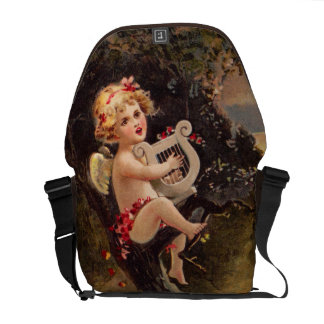 Clapsaddle: Little Cherub with Harp Courier Bag