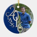 Class 2016 Blue and Silver Graduate Photo Round Ceramic Decoration