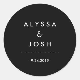 Classic and Minimal Black and White Wedding Round Sticker