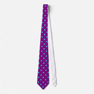 Classic Aqua Polka Dots on Purple Tie