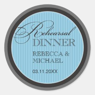 Classic Blue Pinstripe Rehearsal Dinner Sticker