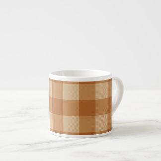 Classic brown plaid checkered cloth espresso mug