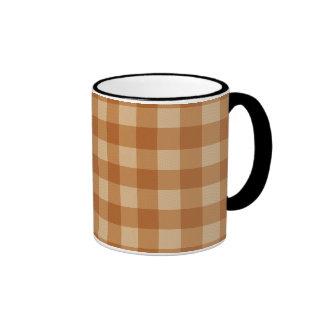 Classic brown plaid checkered cloth ringer mug