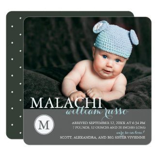 Classic Monogram Baby Boy Birth Announcement
