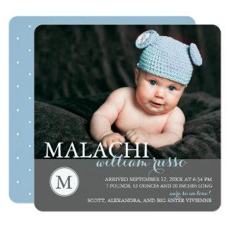 Classic Monogram Boy Birth Announcement / Blue