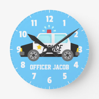 Classic  Police Car with Siren For Boys Room Wallclock