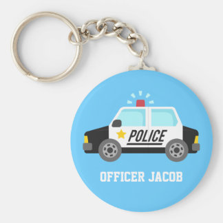Classic Police Car with Siren Name Basic Round Button Key Ring