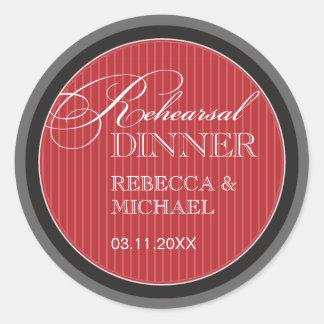 Classic Red Pinstripe Rehearsal Dinner Sticker