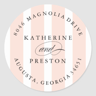 Classic Stripes Wedding Monogram Address Label Round Sticker