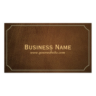 Classic Tan Leather DJ Music Business Card