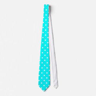 Classic White Polka Dot Pattern on Aqua Tie