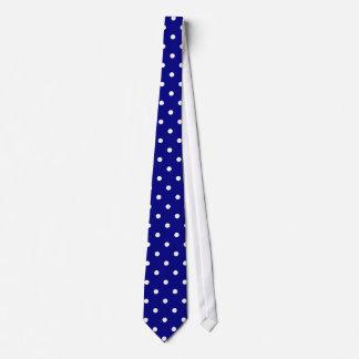 Classic White Polka Dot Pattern on Navy Tie