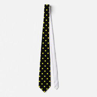 Classic Yellow Polka Dot Pattern on Black Tie