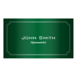 Classy Green Framed Optometrist Business Card