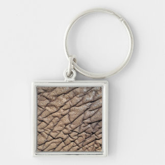 Close-Up Of African Elephant's Hide Silver-Colored Square Key Ring