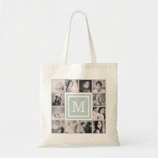 Cloud Blue Monogram Instagram Photo Collage Budget Tote Bag