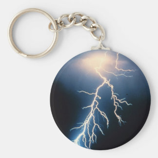 Cloud to Ground Lightning Basic Round Button Key Ring