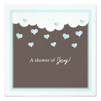 Clouds & Hearts Baby Shower for Boy Invitation