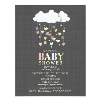 Clouds + Hearts Neutral Baby Shower 11 Cm X 14 Cm Invitation Card