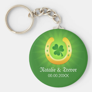Clover golden horse St Patrick's day wedding favor Basic Round Button Key Ring