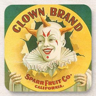Coasters Vintage Advertising Clown Brand Fruit Co.