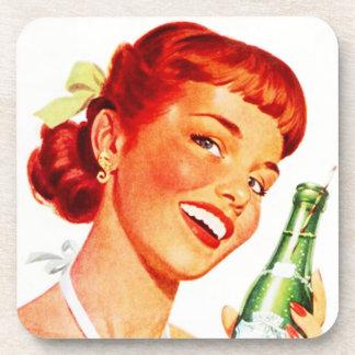 Coasters Vintage Soda Pop Advertising Retro Gal