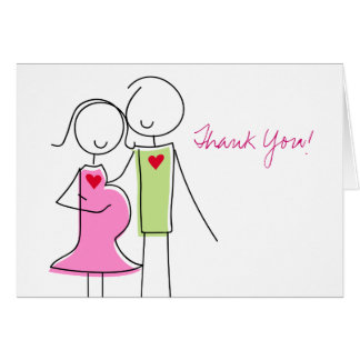 Coed Baby Shower Thank You Cards, Expecting Couple Note Card