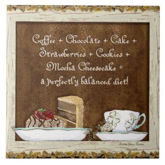 Coffee & Chocolate Java Kitchen Art Dessert Cakes Large Square Tile