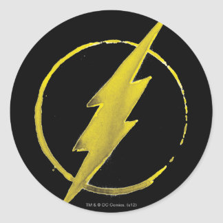 Coffee Flash Symbol - Yellow Round Sticker