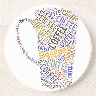 Coffee Mug Word Art Beverage Coasters