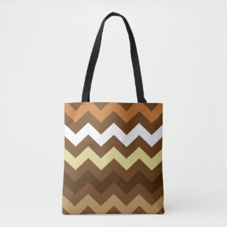 Coffee Shades Chevron Tote Bag