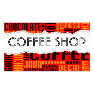 coffee shop torn paper pack of standard business cards