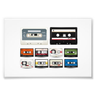 Collection of Retro Audio Cassette Tapes Art Photo