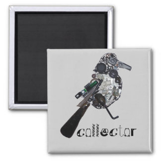 """""""Collector"""" Magpie Found-Object Sculpture Square Magnet"""