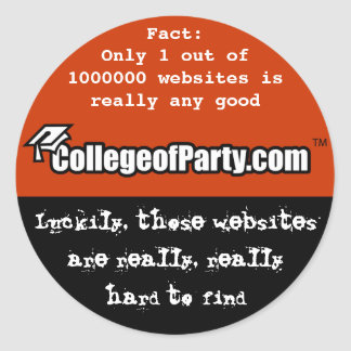 CollegeofParty.com - Hard to find Round Sticker