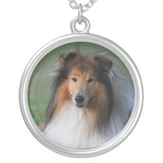Collie dog necklace, gift idea round pendant necklace
